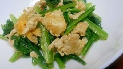 白だしで簡単☆小松菜とたまご炒め