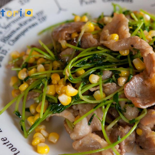 旬のトウモロコシ入り★豆苗と豚肉のオイスター炒め