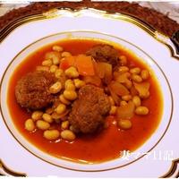 大豆とミートボールのトマト煮♪