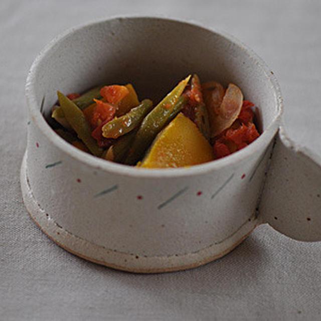 かぼちゃとインゲンのトマト煮(スパイシー)