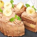 食べきりサイズのチョコレートとバナナのケーキ