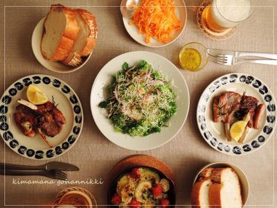 ラム肉のソテーと野菜をたくさん。