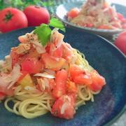 食べるトマトとツナの冷製ソース パスタで食す
