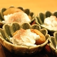 ドリップ生乳と杏のデザート