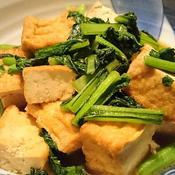厚揚げと小松菜の焦がしにんにく炒め