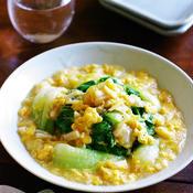 レンチン青梗菜の生姜香るホタテとふんわり卵のあんかけ