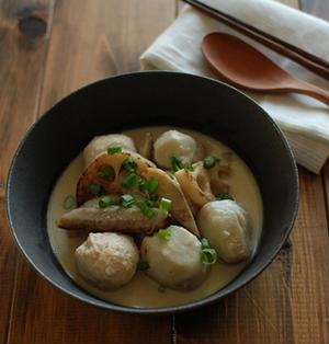 鶏団子と根菜の豆乳味噌煮込み