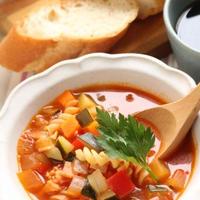 「パプリカ香るパスタ入りたっぷりお野菜のスープ」「マーロウのプリン」
