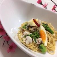 春はもうすぐ♪♪『菜の花・たまご・マッシュルームスパゲティ』☆ 味の決めてはアンチョビで☆