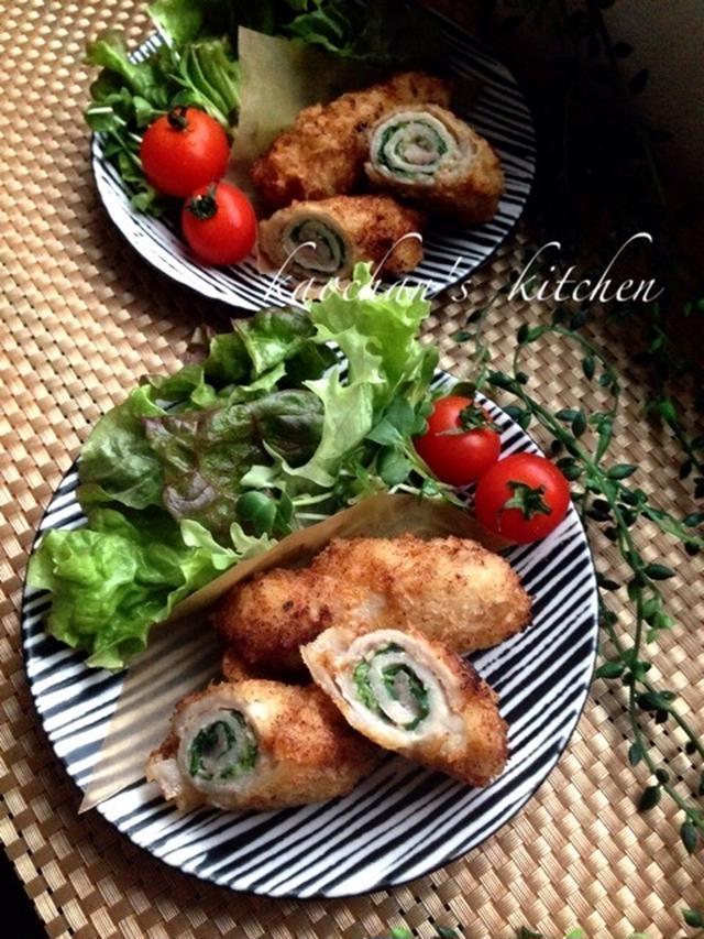 大葉とハムを豚肉で巻いた味噌カツと付け合わせのレタスとミニトマト