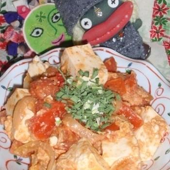 韓国風豆腐とトマトの卵炒め&里芋の辣味噌煮(お家カフェ)