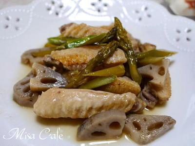 鶏手羽中と蓮根とアスパラの炒め煮