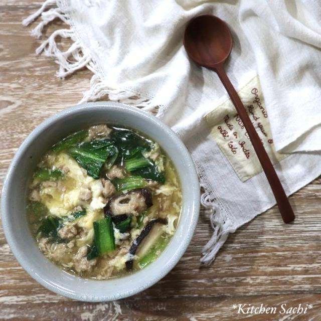 ぽかぽか♡小松菜とひき肉の生姜スープ♡【#簡単レシピ#スープ】