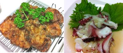 塩麹竜田揚げ、タコの柚子胡椒マリネ、明太子ポテトサラダ、枝豆の辛子和え