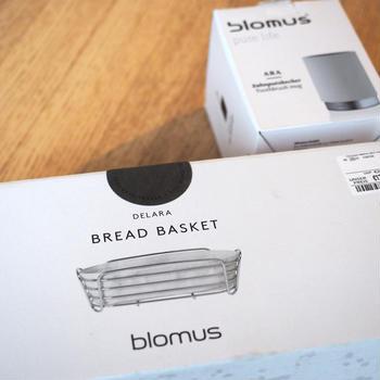 ドイツで購入したblomusの歯ブラシ立てとパン用バスケット