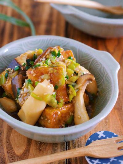 コスパ◎♪コリコリ食感がクセになる♪『厚揚げとエリンギのねぎだく中華あえ』