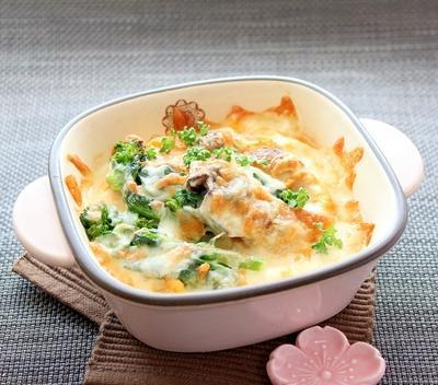 糖質オフ☆牡蠣と菜の花の豆腐グラタン