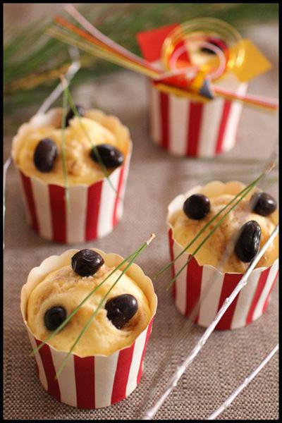 黒豆リメイク♪ホットケーキミックスで簡単!もっちもち黒豆蒸しパン