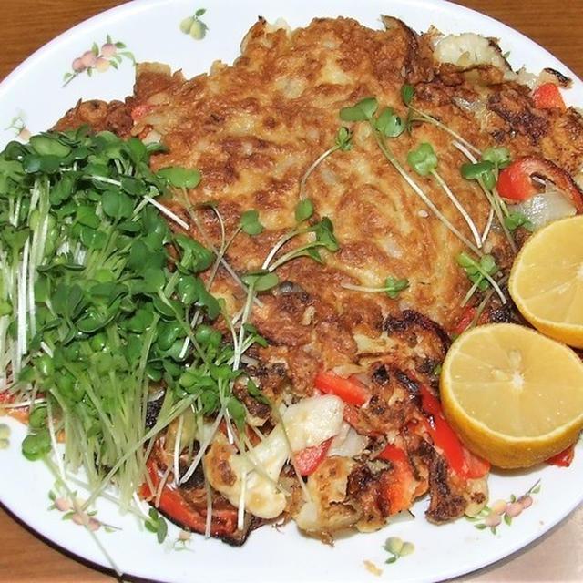 カリフラワーと野菜達のかき揚げ&ほうれん草とベーコンの炒り卵