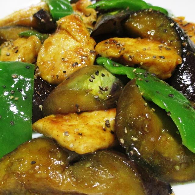 ナスと鶏むね肉の中華風カレー炒め<スパイシーでピリ辛>