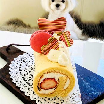 コストコのマカロンでロールケーキ♪