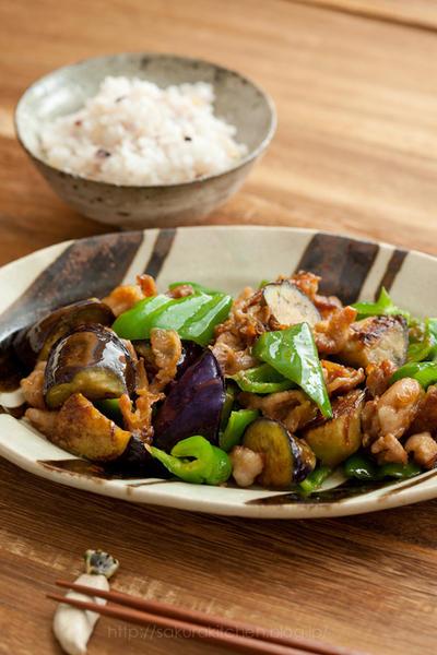 ごはんにあうおかずといえば。「豚肉と茄子とピーマンの味噌炒め」