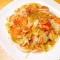 スモークサーモンと新玉ねぎのデリ風カルパッチョサラダと辛み抜きの荒技。