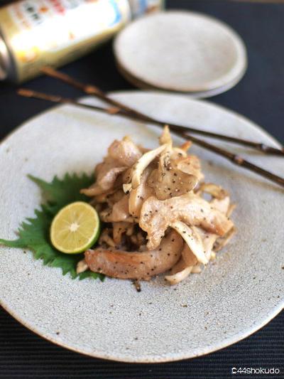 豚トロと舞茸のポン酢炒め。