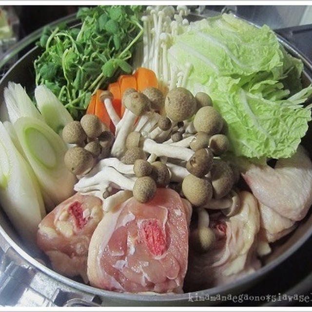 寒い夜は鍋...ナベ鍋☆ブツ切りの鶏肉はダシも最高の博多水炊きday☆