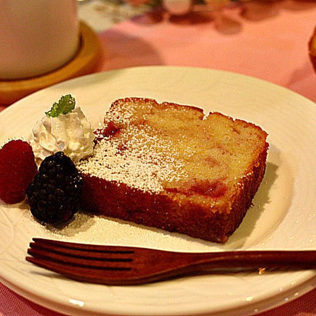 White Chocolate & Strawberry Pound Cake