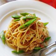 ルクエスチームケースで!ツナとえんどうのトマトソーススパゲティ
