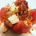 トマトとキムチとモッツァレラチーズのカプレーゼ