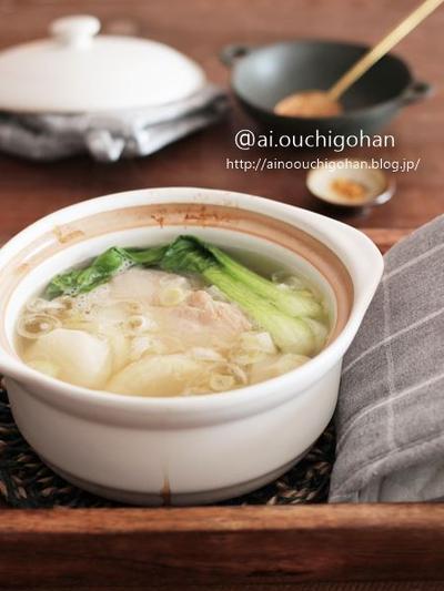ぽかぽかあったか♡肉の旨味がご馳走*鶏肉と大根のしょうがたっぷり参鶏湯風スープ♡