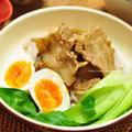 【豚バラ薄切り肉で作る魯肉飯(ルーローハン)】と献立