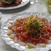 イサキのカルパッチョ、イサキのソテー トマトソース