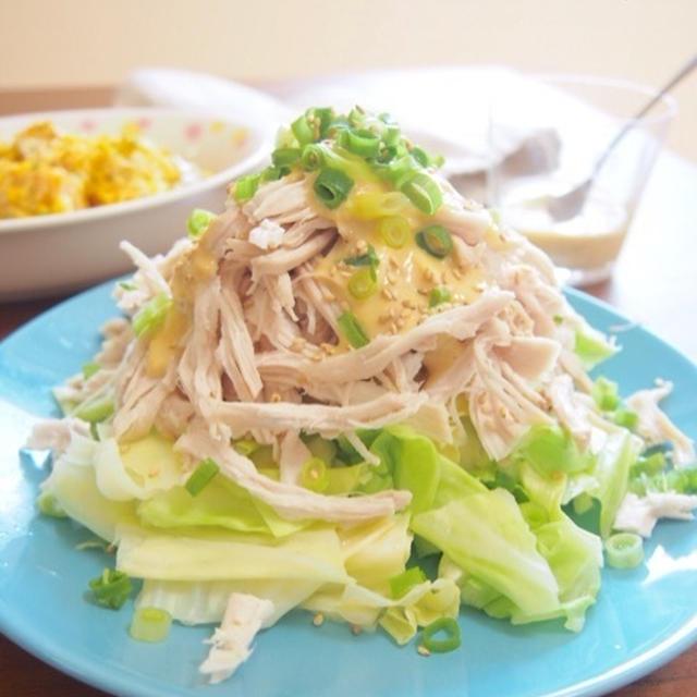 【簡単時短節約ダイエット!レンジにお任せ♡蒸し鶏とキャベツのごま味噌だれサラダ♡】
