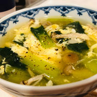 小松菜としめじのふわふわ卵スープ♪
