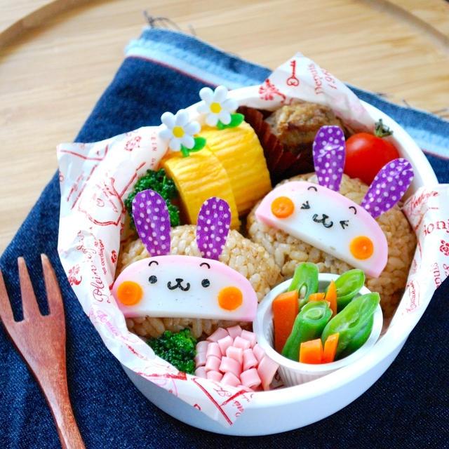簡単キャラ弁☆かまぼこウサギのお弁当