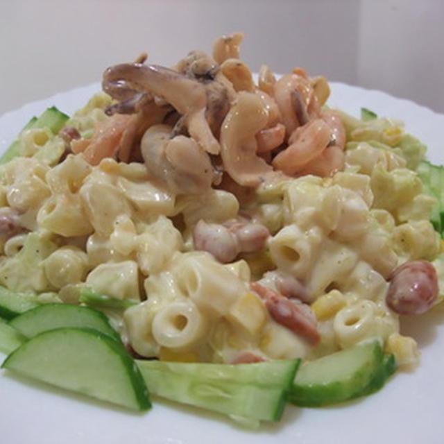 缶詰利用♪ピント豆と魚介のマカロニサラダ