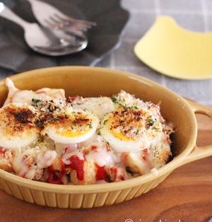 夕飯のおつまみにも♡5分で準備完了♡なすのトマトチーズ重ね焼き♡