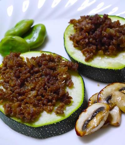 夏野菜食べちゃおう!ジャンボズッキーニのスパイシーミートグリル