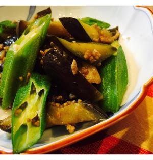 茄子とオクラのひき肉甘醤油炒め