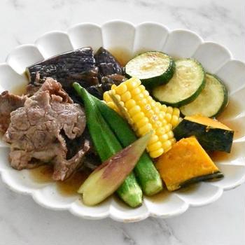 肉と夏野菜の焼き浸し♩