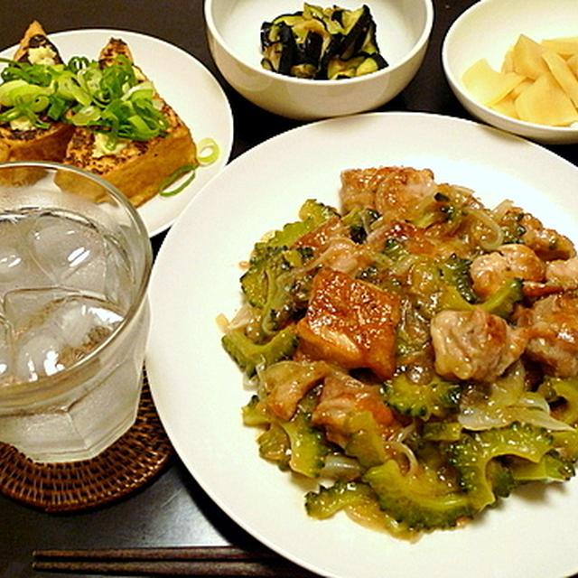 鶏とゴーヤの梅肉炒め