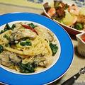 うまいっ(≧∇≦) 牡蠣とほうれん草の塩麹ペペロンチーノ