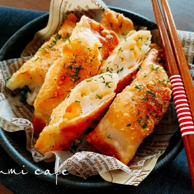 ♡餃子の皮de簡単♪アレンジおつまみ♡ふわふわはんぺんのチーズかまぼこ揚げ♡