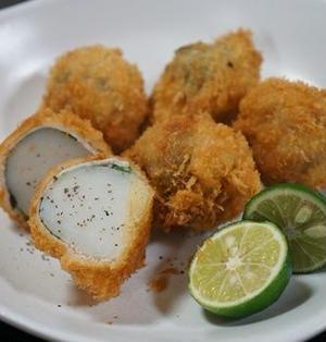 【里芋レシピ】しっとり里芋の肉しそ巻きフライ。