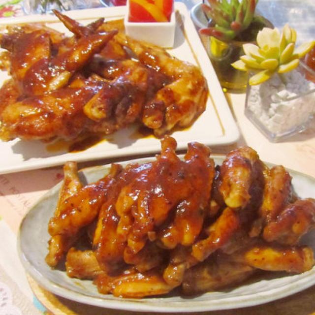 もう夢中♥手羽先&中の甜麺醤漬けのケチャポン甘辛煮♡
