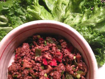 挽き肉のレタス包み、変わり揚げ出汁茄子、きゅうりの叩きトマト添え中華風サラダ