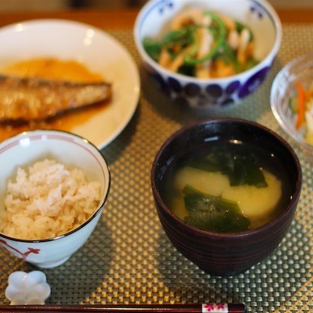 鯖の味噌煮 鶏胸肉とピーマンの炒め物
